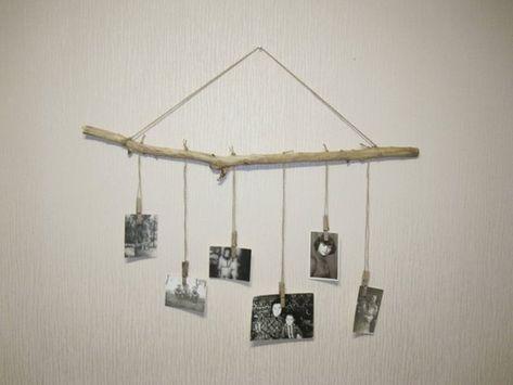 Boho bedroom decor, close pin picture hanger, baby room decor, branch picture hanger, branch wall ha