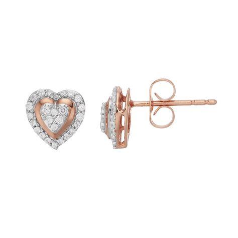 10k Rose Gold 1/5 Carat T.W. Diamond Heart Stud Earrings, Women's, White