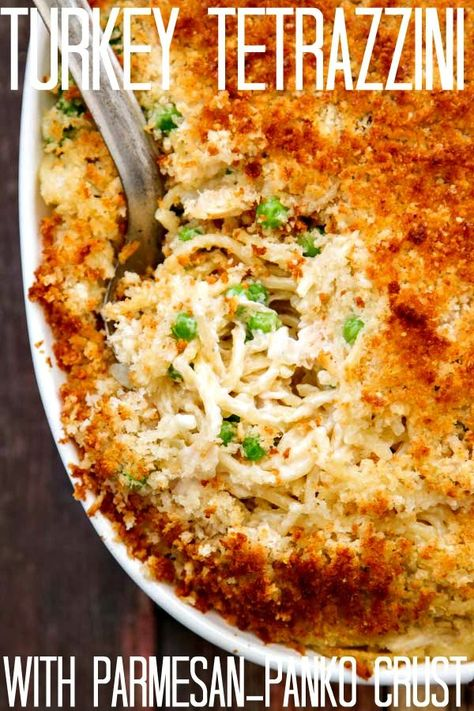 Turkey Tetrazzini with Parmesan Panko Topping - leftover Thanksgiving turkey works great or use chicken if that's what you've got. Either way, it's easy and delish!