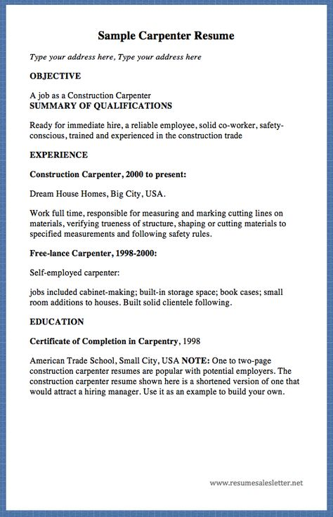 carpentry resume template unforgettable apprentice carpenter - Carpentry Resume Template