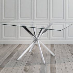 Monarch Dining Table 36 X 48 Chrome With 8mm Tempered Glass