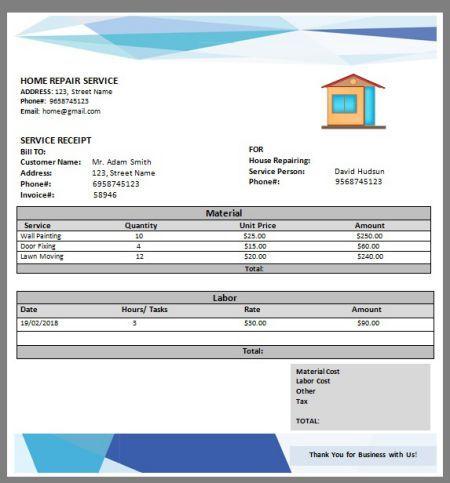 Home Repair Invoice Template 8 Amazing Free Editable Templates