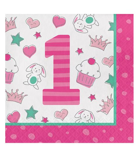 Servietten Happy One Pink 16 Stuck In 2019 1 Geburtstag