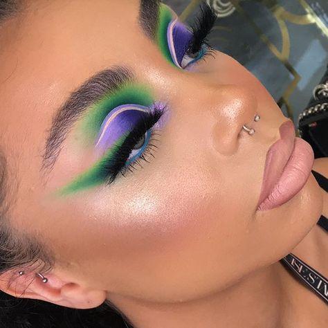 Makeup Eye Looks, Eye Makeup Art, Beautiful Eye Makeup, Pretty Makeup, Fairy Makeup, Amazing Makeup, Cheer Makeup, Rave Makeup, Black Girl Makeup
