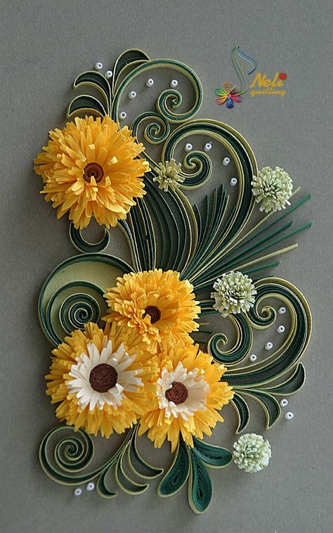 Beautiful Floral Arrangement - quilled by: Quilling Artist - Neli Beneva