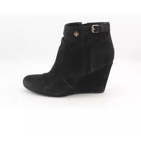 320e4b2bfffe TORY BURCH Milan wedge bootie Black suede with gold TB logo emblems. Size  8.5 Tory Burch Shoes Ankle Boots   Booties