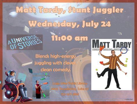 #matttardy #juggling #comedy #wednesdaymorning #atthelibrary #LagoVista #summerreadingprogram #auniverseofstories