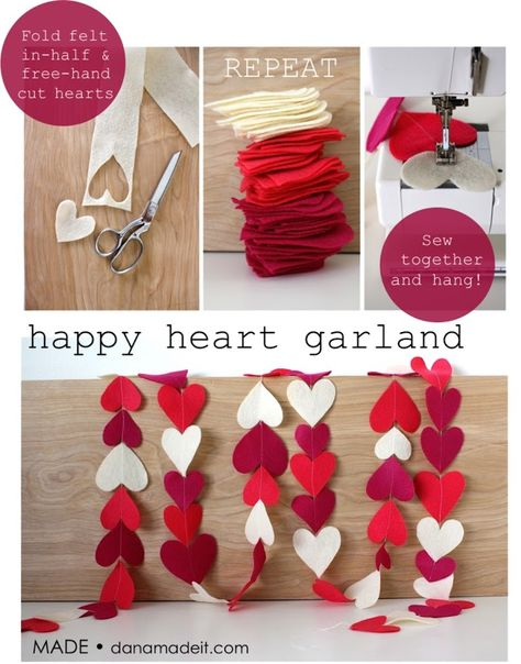 Felt heart garland/Could use paper hearts and use Valentine patterned paper in between solid colors, string a sparkly bead between each heart. Tie toile strips of pink, white and red in a knot between hearts. Sew by hand with embroidery thread. Valentine Day Love, Valentine Day Crafts, Holiday Crafts, Valentine Nails, Kids Valentines, Valentine Ideas, Decoration St Valentin, Felt Crafts, Diy Crafts
