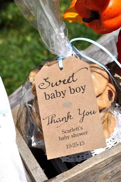 Rustic Baby Shower Favor Tags (Sweet Baby Boy) - Thank You Tags - Kraft Favor…
