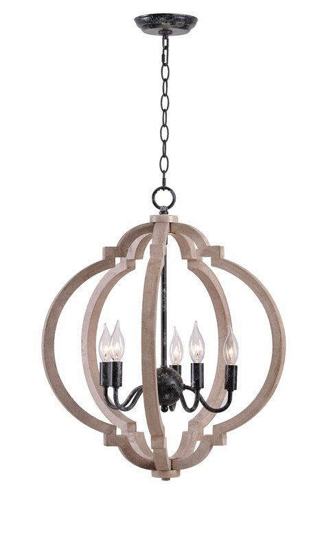 Briony 5 Light Candle Style Globe Chandelier With Wood Accents