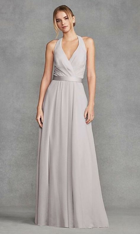 34e7254476d9f White by Vera Wang- Davids Bridal-V Neck Halter Gown with Sash #fashion