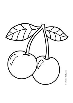 Cherry Fruits Coloring Pages For Kids Printable Free Coloring