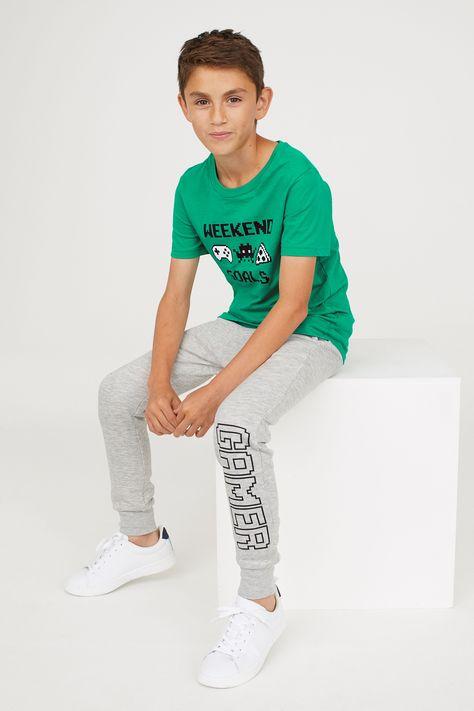 T-shirt i joggersy - Zielony/Szary melanż -   H&M PL