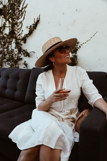 White Linen Dress Straw Boater Hat Straw Hats Outfit Fashion Outfits With Hats