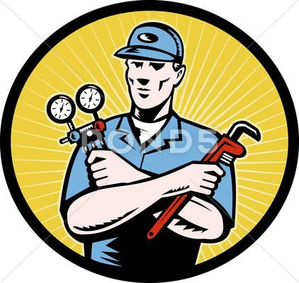 Repairman Serviceman Holding Ac Manifold Gauge Wrench Illustration