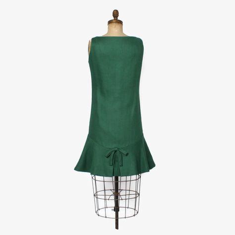 bad2ad449c Vintage 60s GEOFFREY BEENE Dress   1960s Mod Green Linen Drop Waist ...