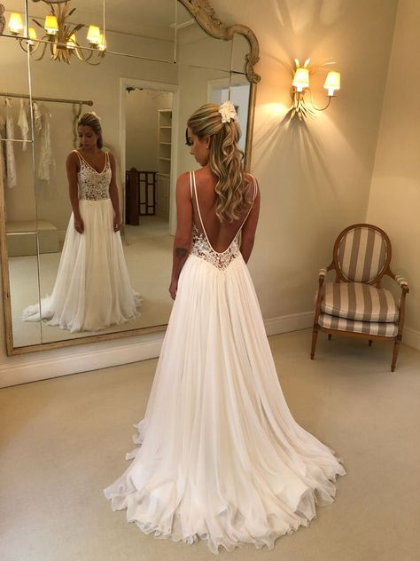 White Chiffon Lace A-line Wedding Dress Vestido Noiva