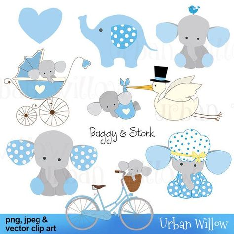 Baggy & Stork, blue - Clip art set in premium quality 300 dpi, Png and Jpeg and Vector files.