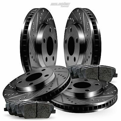Fits Hyundai Veracruz Front Rear Gold Drill Slot Brake Rotors+Ceramic Brake Pads