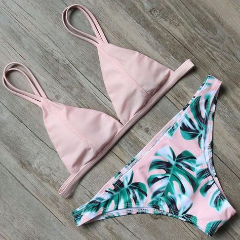 316fd62e5c Bikini 2018 Sexy Brazilian Bikini Set Swimwear Women Swimsuit Bathing Suit  Leaf Print Biquini Swim Suit Maillot De Bain Support Type: Wire Free  Material: ...