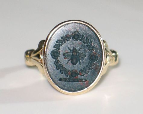 ANTIQUE Victorian, Bloodstone and Gold Ring. 14k Yellow gold
