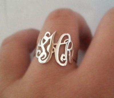 Monogrammed gifts Monogram ringsterling silver by mymonogramdesign