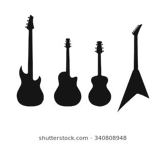 A Set Of Silhouettes Of Various Guitars Bass Electric Guitar Acoustic Silhouette Images Guitar Image