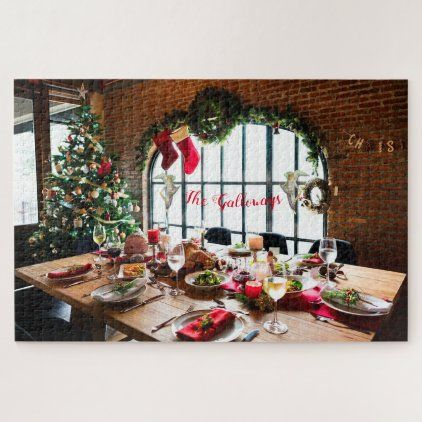 Christmas Dinner Monogram Food Angels Tradition Jigsaw Puzzle