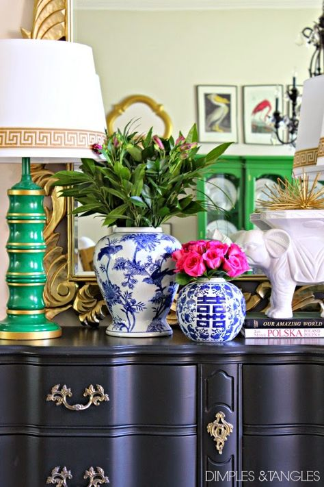 Entry, Foyer styling // blue and white accessories // green and gold greek key lamps // gold mirror // pink roses