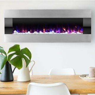Electric Fireplace Wall Mounted With Led Fire And Ice Flame
