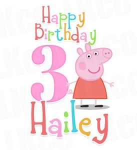 Peppa Pig Iron On Birthday Shirt Transfer Rainbow Style 02