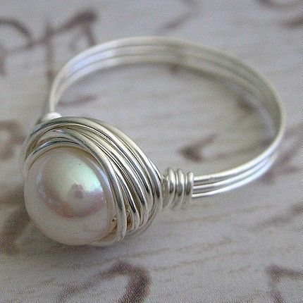 Wire Wrapped Sterling Silver Freshwater Pearl Ring by Perfections Handmade Jewelry