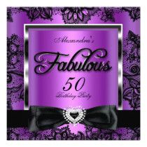 Fabulous 50 Purple High Heels 50th Birthday Party Invitation