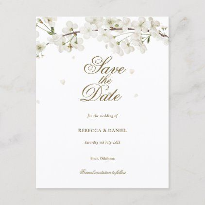 White Blossom Floral Save The Date Announcement Postcard Zazzle Com Floral Save The Dates Wedding Anniversary Invitations Save The Date