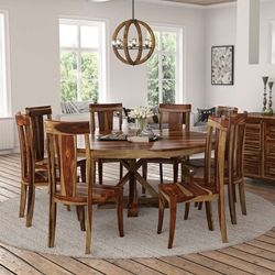 Sierra Nevada 84 Large Round Rustic Solid Wood Dining Table Chair Set Round Dining Room Table Round Dining Room Dining Table Chairs