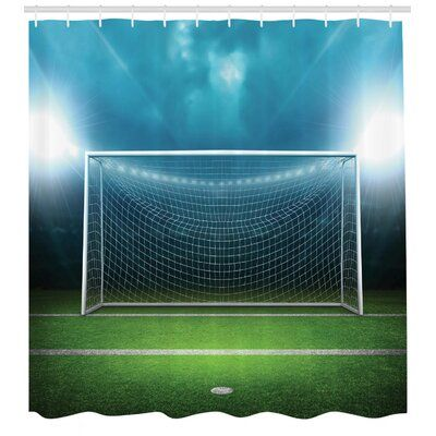 East Urban Home Soccer Shower Curtain Set Hooks In 2020 Soccer