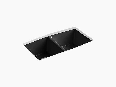 Kohler K 5846 5u Brookfield 33 Cast Iron Kitchen Sink Undermount Double Equal Kitchen Sink With 5 Faucet Holes Cast Iron Kitchen Sinks Sink Clean Pots