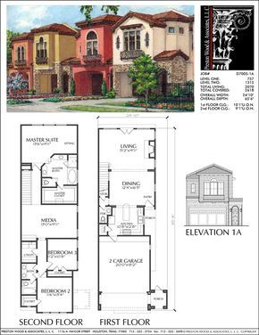 Two Story Townhouse Plan D7005 1a Town House Floor Plan House Plans Row House Design