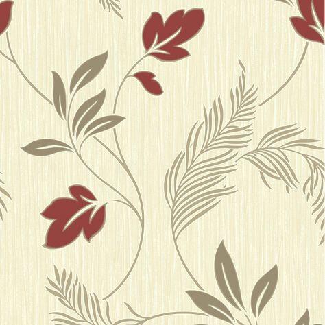 Grandeco Floral Leaf Pattern Wallpaper Embossed Stripe Glitter Motif Textured