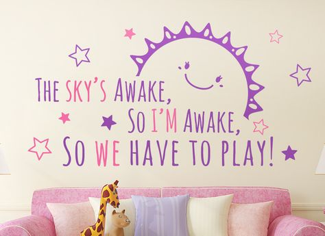Frozen The Skys Awake Quote Wall Art Sticker  This stunning Frozen wall sticker is perfect for kids bedrooms or play rooms. The wall sticker is available as a one or two colour design and comes in 4 different sizes. The full text reads the words from Anna to Elsa 'The sky's awake, so I'm awake, so we have to play!' http://www.smartywalls.co.uk/frozen-the-skys-awake-wall-art-sticker.html