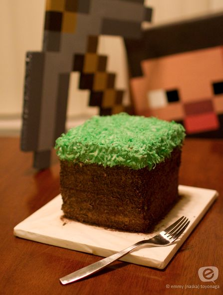 Minecraft Birthday Cake [Dirt Block Cake]  I like the coconut as the grass...and a link to other ideas. Light on instructions though :(