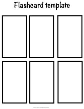 This Template Has A Larger 6 Count Flash Card Design Png 300 Dpi File Print On Card Stock For Longet Card Life Flash Card Template Card Template Flashcards
