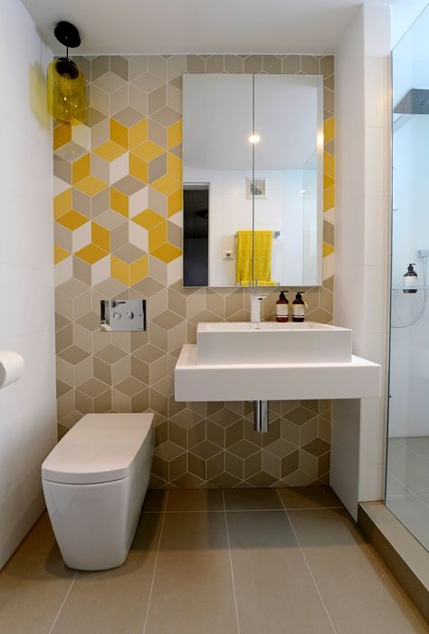 Best of 'The Block' Australia - Trixie + Johnno's 'hers' ensuite. Creative arrangement of tiles to create a nice focal point of the bathroom.