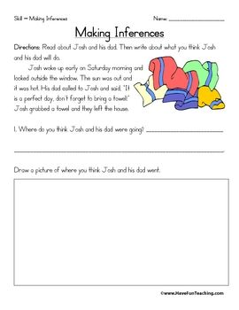 Inference Worksheets Reading Comprehension Reading Classroom Reading Lessons Kindergarten inferencing worksheets