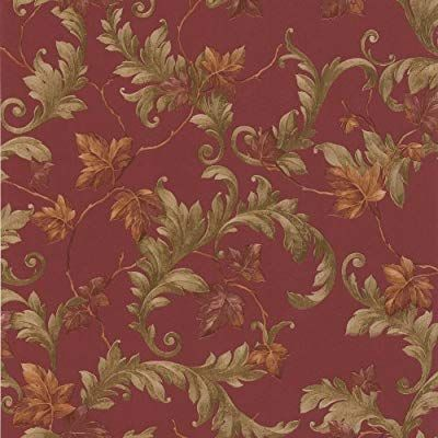 Brewster 414 43336 Alessia Scrolling Leaf Wallpaper Red By