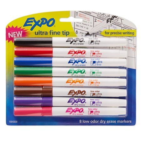 Expo Low Odor Dry Erase Markers Ultra Fine Tip Assorted 8 Count Walmart Com In 2021 Dry Erase Markers Wet Erase Markers Dry Erase