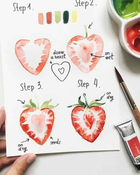 """Realistic Drawings amazing doodle bullet journal - Want to learn how to doodle in your bullet journal? These 50 doodle doodle """"how-to""""'s to make doodles in your bujo easy and simple to draw Watercolour Tutorials, Watercolor Techniques, Painting Techniques, Painting Lessons, Painting & Drawing, Watercolor Paintings, Watercolors, Drawing Step, Food Art Painting"""