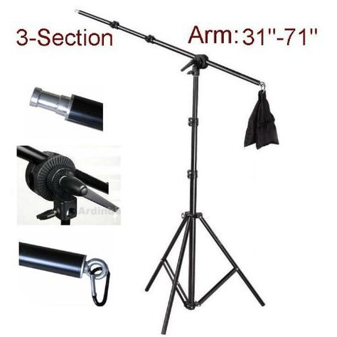 Ardinbir Studio Tri-Reflector Holder Arm kit with Grip Head and Light Stand