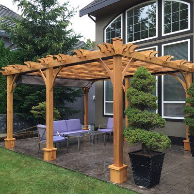 Outdoor Living Today Breeze 12 Ft W X 16 Ft D Solid Wood Pergola Wayfair In 2020 Wood Pergola Backyard Pergola Curved Pergola