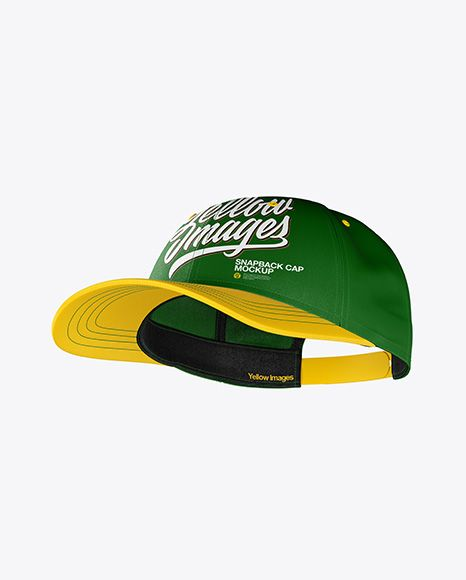 Snapback Cap Mockup Half Side View In Apparel Mockups On Yellow Images Object Mockups Design Mockup Free Free Psd Design Psd Template Free